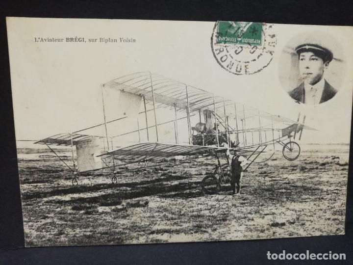 TARJETA POSTAL. L´AVIATEUR BREGI.SUR BIPLAN VOISIN. (Postales - Postales Temáticas - Aeroplanos, Zeppelines y Globos)