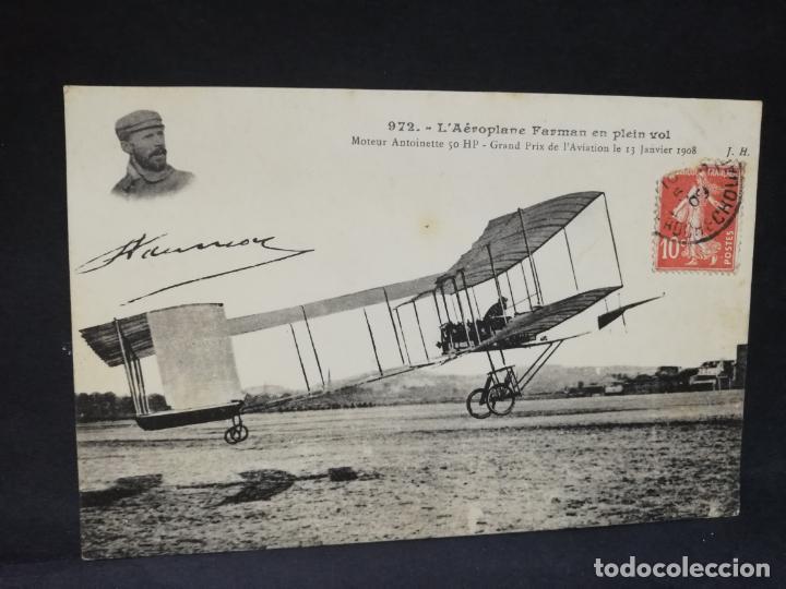 TARJETA POSTAL. L´AEROPLANE FARMAN EN PLEIN VOL. (Postales - Postales Temáticas - Aeroplanos, Zeppelines y Globos)