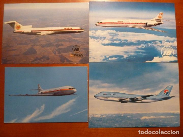 LOTE 4 POSTALES ORIGINALES ANTIGUAS DE AVIONES IBERIA SIN CIRCULAR (Postales - Postales Temáticas - Aeroplanos, Zeppelines y Globos)