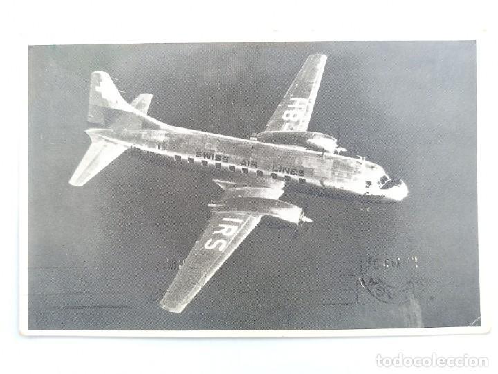 POSTAL. AVION. 1949 SWISSAIR CONVAIR LINER. BIMOTOR SWISS AIR LINES HB - IRS. CIRC. POST CARD (Postales - Postales Temáticas - Aeroplanos, Zeppelines y Globos)