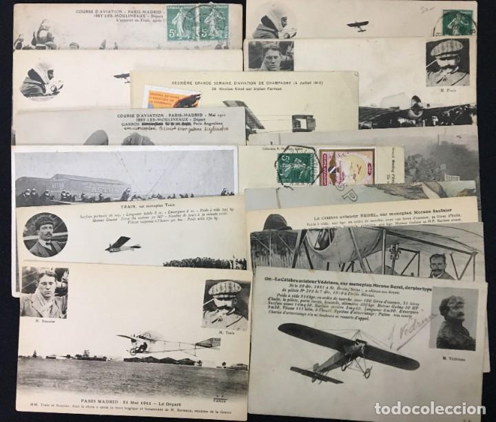 15 POSTALES DE PRIMEROS VUELOS PARIS-MADRID ENTRE 1910-1911, ALGUNAS CON VIÑETA Y FIRMA DEL PILOTO. (Postales - Postales Temáticas - Aeroplanos, Zeppelines y Globos)