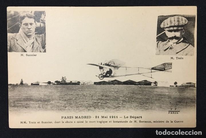 Postales: 15 Postales de Primeros Vuelos Paris-Madrid entre 1910-1911, algunas con viñeta y firma del piloto. - Foto 2 - 205733508