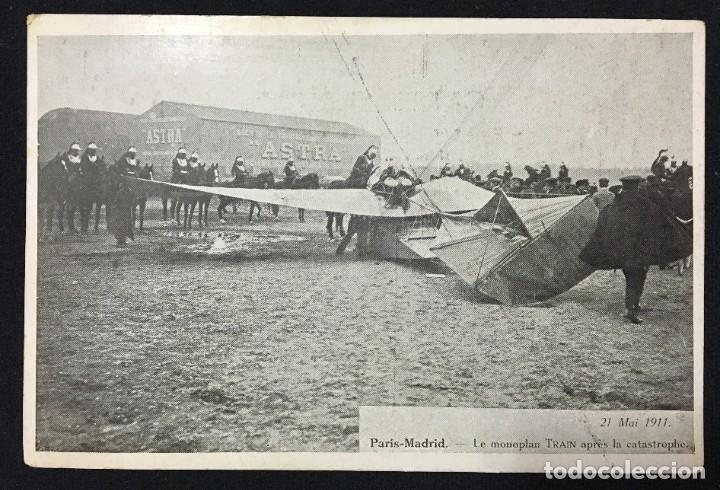 Postales: 15 Postales de Primeros Vuelos Paris-Madrid entre 1910-1911, algunas con viñeta y firma del piloto. - Foto 4 - 205733508