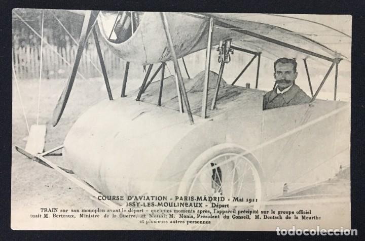 Postales: 15 Postales de Primeros Vuelos Paris-Madrid entre 1910-1911, algunas con viñeta y firma del piloto. - Foto 5 - 205733508