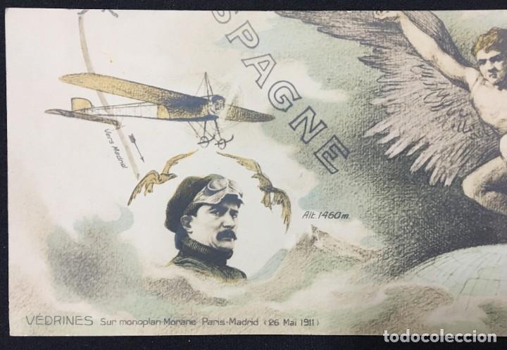 Postales: 15 Postales de Primeros Vuelos Paris-Madrid entre 1910-1911, algunas con viñeta y firma del piloto. - Foto 7 - 205733508