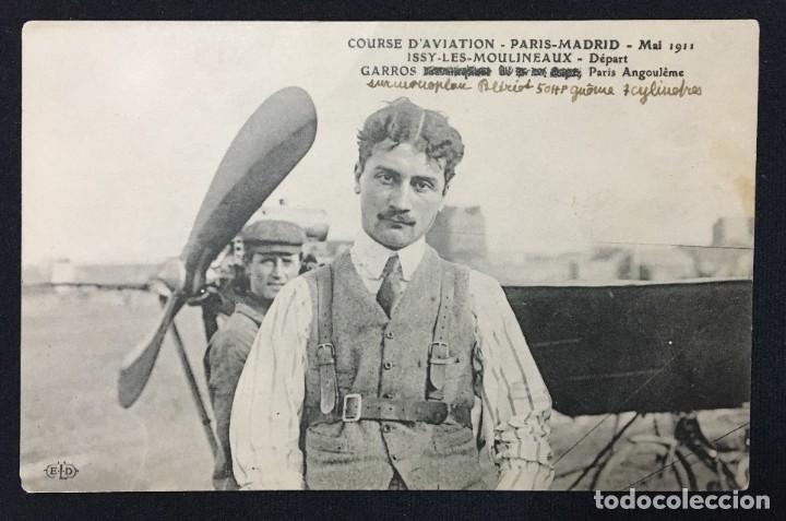 Postales: 15 Postales de Primeros Vuelos Paris-Madrid entre 1910-1911, algunas con viñeta y firma del piloto. - Foto 9 - 205733508