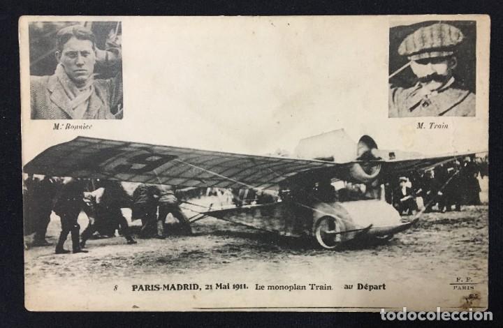 Postales: 15 Postales de Primeros Vuelos Paris-Madrid entre 1910-1911, algunas con viñeta y firma del piloto. - Foto 10 - 205733508