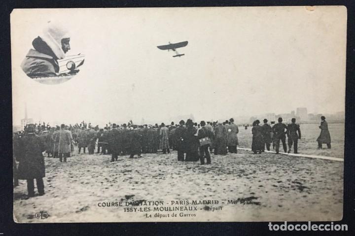 Postales: 15 Postales de Primeros Vuelos Paris-Madrid entre 1910-1911, algunas con viñeta y firma del piloto. - Foto 11 - 205733508