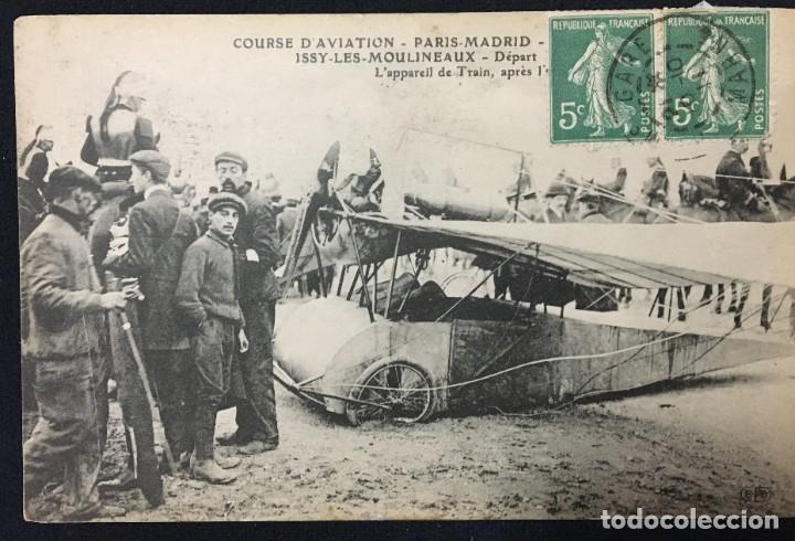 Postales: 15 Postales de Primeros Vuelos Paris-Madrid entre 1910-1911, algunas con viñeta y firma del piloto. - Foto 12 - 205733508