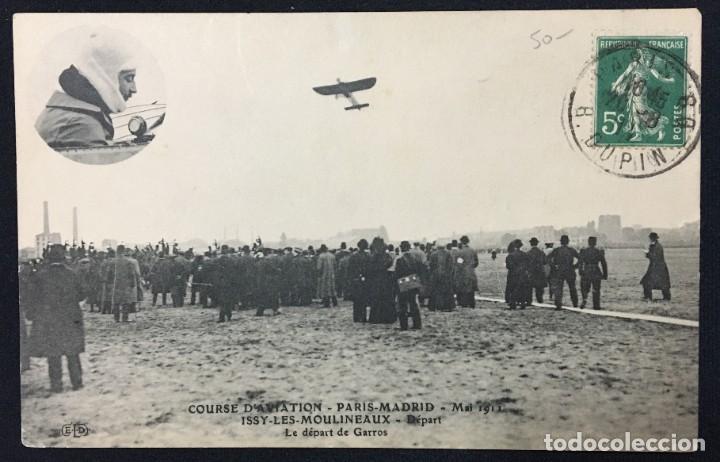 Postales: 15 Postales de Primeros Vuelos Paris-Madrid entre 1910-1911, algunas con viñeta y firma del piloto. - Foto 13 - 205733508