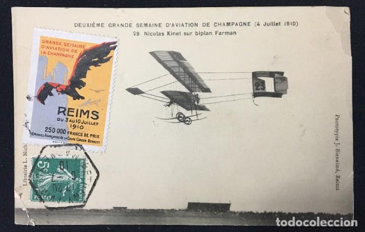 Postales: 15 Postales de Primeros Vuelos Paris-Madrid entre 1910-1911, algunas con viñeta y firma del piloto. - Foto 14 - 205733508