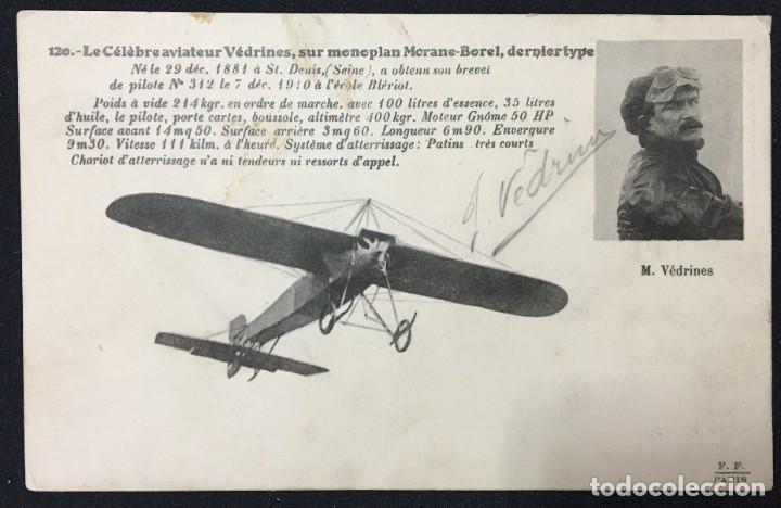 Postales: 15 Postales de Primeros Vuelos Paris-Madrid entre 1910-1911, algunas con viñeta y firma del piloto. - Foto 16 - 205733508