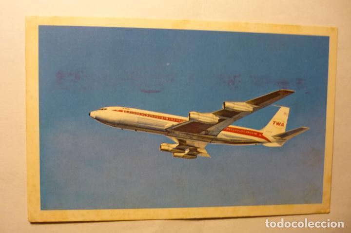 POSTAL AVION TWA - CIRCULADA (Postales - Postales Temáticas - Aeroplanos, Zeppelines y Globos)