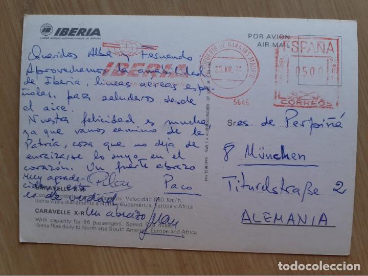 Postales: TARJETA POSTAL - IBERIA LINEAS AEREAS INTERNACIONALES DE ESPAÑA - CARAVELLE X-R - AVION - Foto 2 - 206318071