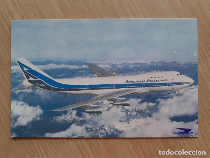 TARJETA POSTAL - AEROLÍNEAS ARGENTINAS - JUMBO 747 - AVION (Postales - Postales Temáticas - Aeroplanos, Zeppelines y Globos)