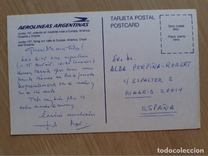 Postales: TARJETA POSTAL - AEROLÍNEAS ARGENTINAS - JUMBO 747 - AVION - Foto 2 - 206318565