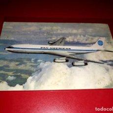 Postales: BOEING INTERCONTINENTAL JET CLIPPERS DOUGLAS DC-8 C PAN AMERICAN SIN CIRCULAR. Lote 206565961