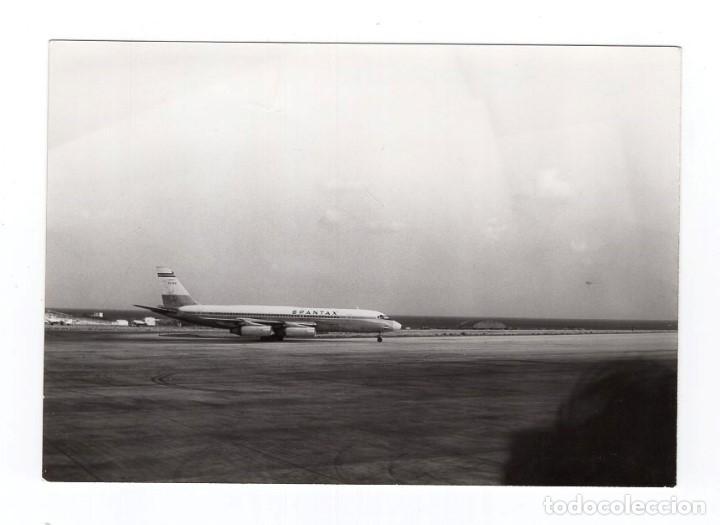 FOTOGRAFÍA B/N · AEROPUERTO DE LOS RODEOS, TENERIFE · AEROLÍNEA SPANTAX · AVIÓN DOUGLAS DC 8 JC (Postales - Postales Temáticas - Aeroplanos, Zeppelines y Globos)