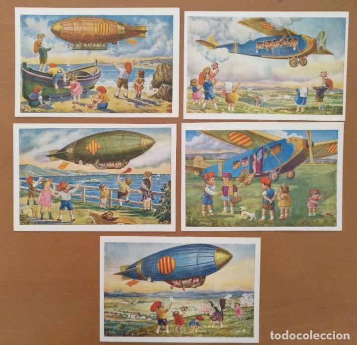 CINCO POSTALES PATRIOTICA CATALANA SERIE AVIACION EDICIONS LOCFON BARCELONA (Postales - Postales Temáticas - Aeroplanos, Zeppelines y Globos)