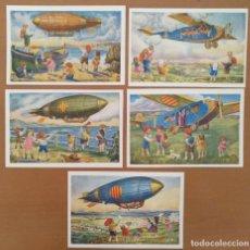 Postales: CINCO POSTALES PATRIOTICA CATALANA SERIE AVIACION EDICIONS LOCFON BARCELONA. Lote 207137967