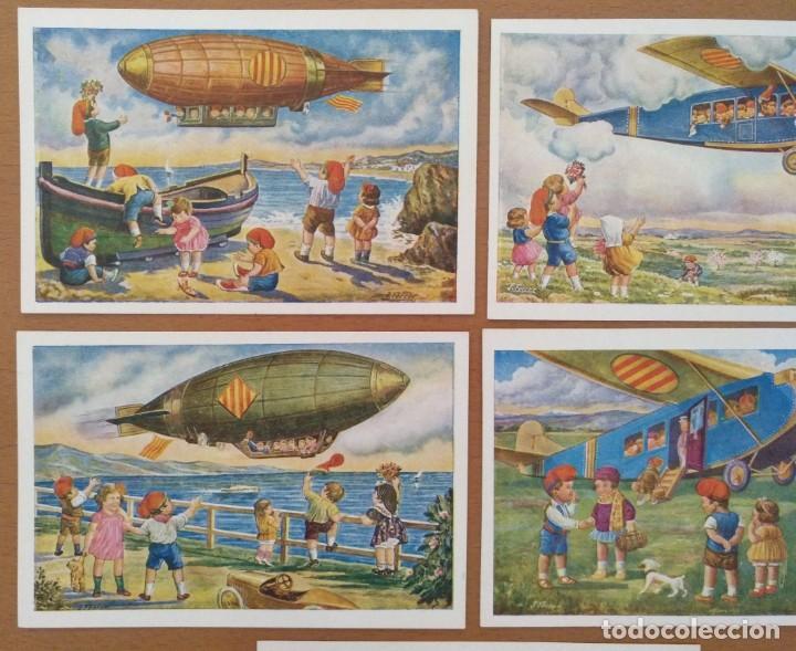 Postales: CINCO POSTALES PATRIOTICA CATALANA SERIE AVIACION EDICIONS LOCFON BARCELONA - Foto 2 - 207137967