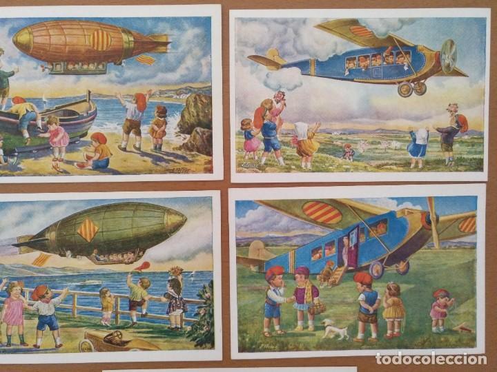Postales: CINCO POSTALES PATRIOTICA CATALANA SERIE AVIACION EDICIONS LOCFON BARCELONA - Foto 3 - 207137967