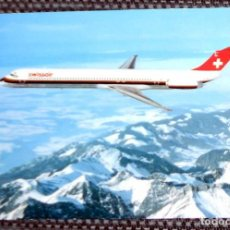 Postales: POSTAL AVION AVIONES SWISSAIR MCDONNEL-DOUGLAS MD-81 MADE IN SUIZA SWITZERLAND - SIN CIRCULAR. Lote 210692647