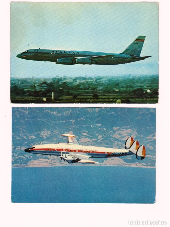 SPANTAX CORONADO. E IBERIA SUPER G. CONSTELLATIÓN (Postales - Postales Temáticas - Aeroplanos, Zeppelines y Globos)