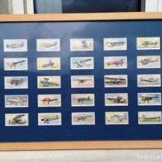 Postales: 25 CROMOS DE TABACO PLAYER & SONS ENMARCADOS AEROPLANES (CIVIL) I. Lote 221586686