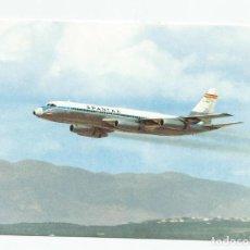 Postales: ANTIGUA POSTAL AVION CONVAIR CV 990 A CORONADO DE SPANTAX- POR I.G.DOMINGO- AÑOS 60-70-SIN CIRCULAR. Lote 221928263