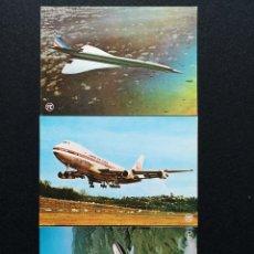 Postales: POSTALES LOTE DE 3 POSTALES CONCORDE AIR FRANCE 747 JAPAN DC-10 JAPAN LOTE Nº 19. Lote 225332293