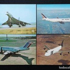 Postales: POSTALES LOTE DE 4 POSTALES CONCORDE AIR FRANCE A300 AIR FRANCE F28 AIR FRANCE 747 UTA LOTE Nº 21. Lote 225334010