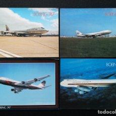 Postales: POSTALES LOTE DE 4 POSTALES 747 AIR INDIA / BRITISH / SINGAPORE / JAPAN LOTE Nº 22. Lote 225334590