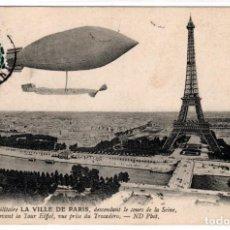 Postales: BONITA POSTAL - LE DIRIGEABLE MILITAIRE LA VILLE DE PARIS - DESCENDANT LE COURS DE LA SEINE. Lote 226638525