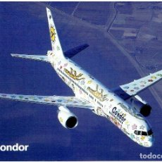 """Postales: CONDOR - BOEING 757-200 (AIRLINE ISSUE) - """"RIZZI BIRD"""" COLORES. Lote 229814615"""