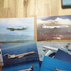 Postales: LOTE 11 POSTALES COMPAÑIAS AEREAS, SPANTAX, IBERIA, SPANAIR, LUFHANSA. Lote 233909975