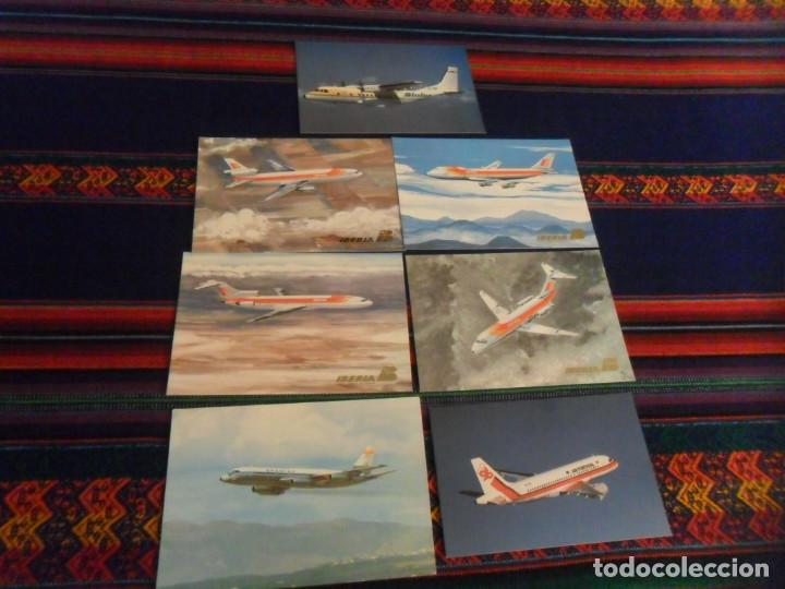 7 POSTAL AVIÓN AIR PORTUGAL, BINTER CASA, SPANTAX CV 990, IBERIA BOEING 727 747 DOUGLAS DC-9 DC-10 (Postales - Postales Temáticas - Aeroplanos, Zeppelines y Globos)