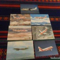 Postales: 7 POSTAL AVIÓN AIR PORTUGAL, BINTER CASA, SPANTAX CV 990, IBERIA BOEING 727 747 DOUGLAS DC-9 DC-10. Lote 236941760