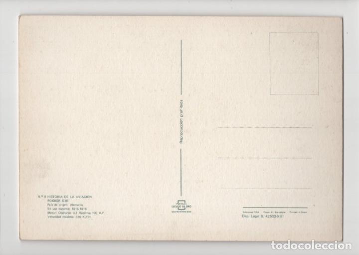 Postales: Nº 9 Historia de la Aviación · Fokker E III, ilustración De la María -Escudo de Oro- - Foto 2 - 237132565