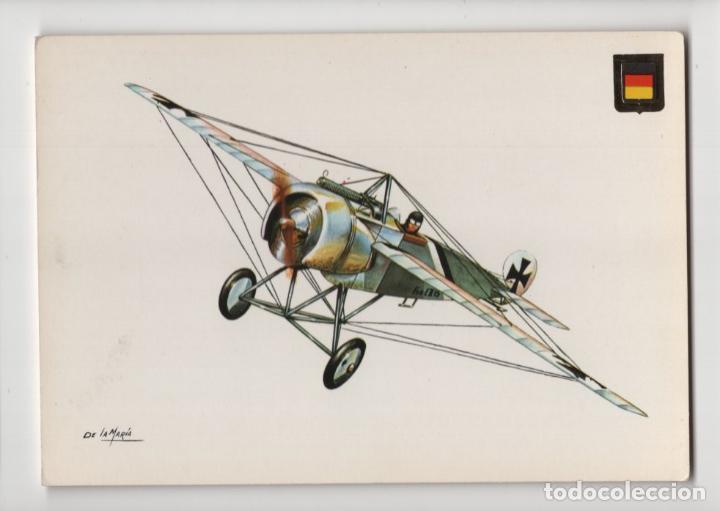 Nº 9 HISTORIA DE LA AVIACIÓN · FOKKER E III, ILUSTRACIÓN DE LA MARÍA -ESCUDO DE ORO- (Postales - Postales Temáticas - Aeroplanos, Zeppelines y Globos)