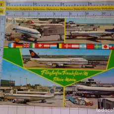 Postales: POSTAL DE AVIONES AEROLÍNEAS. AEROPUERTO DE FRANKFURT, ALEMANIA. PANAM LUFTHANSA . 3366. Lote 243584490