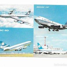 Postales: AVION, AVIONES: DC-10, BOEING 707, BOEING 737 Y BOEING 747.. Lote 250116490
