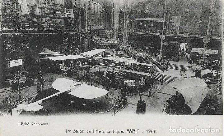 POSTAL DEL 1R SALON DE LA AERONÁUTICA EN PARIS DE 1908 (Postales - Postales Temáticas - Aeroplanos, Zeppelines y Globos)