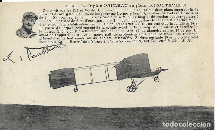 POSTAL LE BIPLAN PAULHAN EN PLEIN VOL (Postales - Postales Temáticas - Aeroplanos, Zeppelines y Globos)