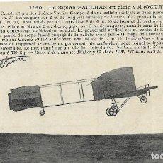 Postales: POSTAL LE BIPLAN PAULHAN EN PLEIN VOL. Lote 251175430