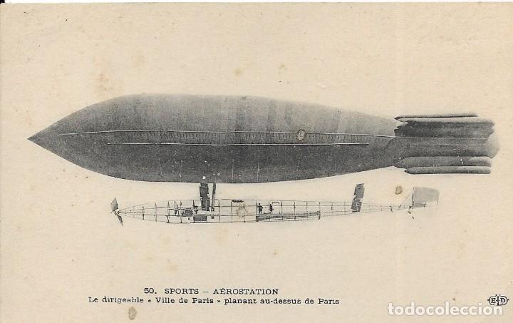 """POSTAL DE EL DIRIGIBLE """"VILLE DE PARIS"""" ZEPELIN PLANANT AU-DESSUS DE PARIS (Postales - Postales Temáticas - Aeroplanos, Zeppelines y Globos)"""