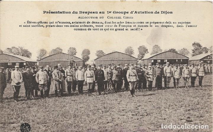 POSTAL DE LA PRESENTACIÓN DE LA BANDERA AL PRIMER GRUPO DE AVIADORES DE DIJON (Postales - Postales Temáticas - Aeroplanos, Zeppelines y Globos)
