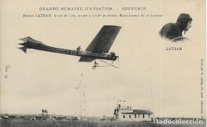 POSTAL DE LA GRANDE SEMAINE D'AVIATION. AVIADOR LATHAM (Postales - Postales Temáticas - Aeroplanos, Zeppelines y Globos)
