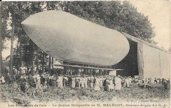 """POSTAL DEL DIRIGIBLE """"M.MALÉCOT"""" , ZEPELIN CON MOTOR ARGUS 40 HP (Postales - Postales Temáticas - Aeroplanos, Zeppelines y Globos)"""