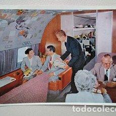 Postales: KLM INTERIOR DE LOCKHEED SUPER CONSTELLATION. SELLO ANTILLAS HOLANDESAS, 1954. Lote 253021200